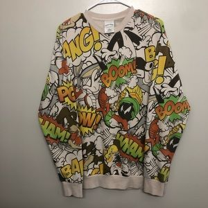Looney tunes all over print sweatshirt tan XL
